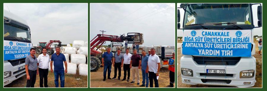 Biga İlçesi Süt Üreticileri Birliği Yangın Bölgesine Yardım Gönderdi